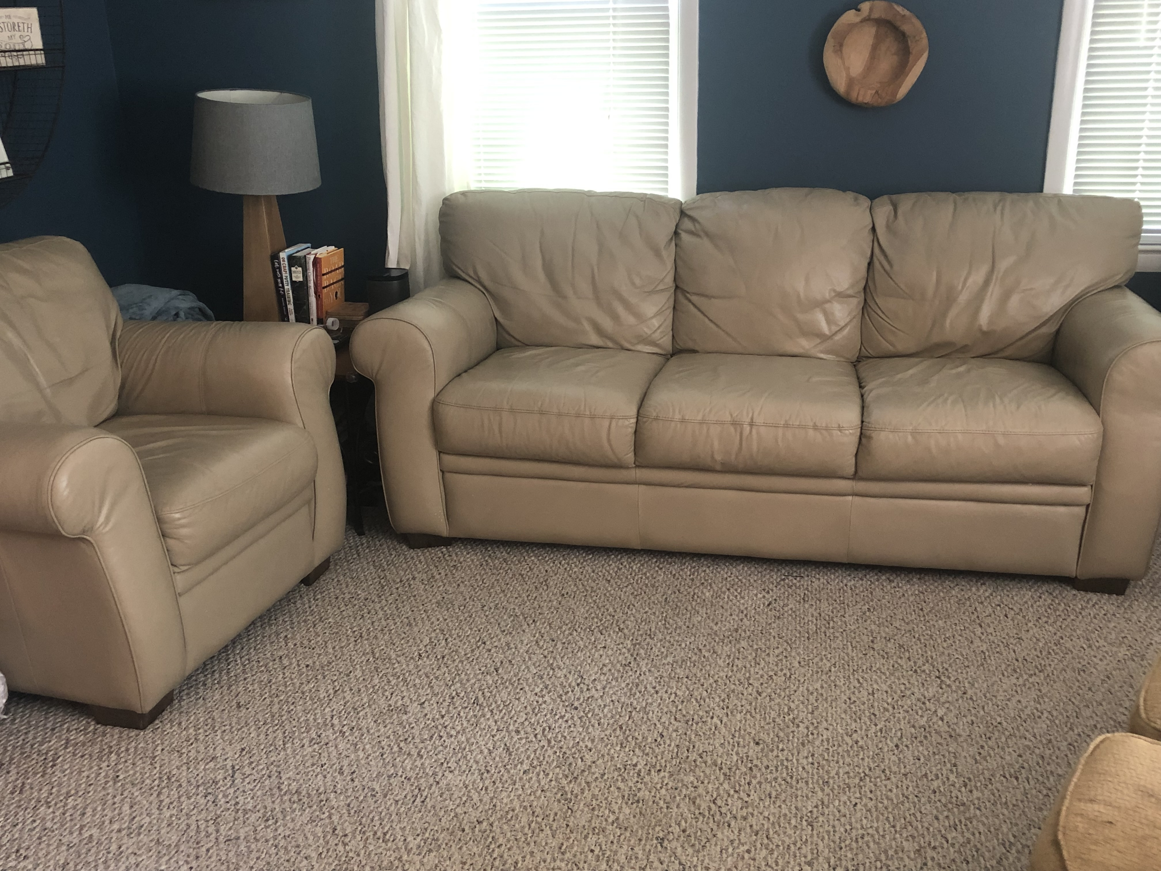 Tan Leather Couch Oversized Chair With Ottoman Set 200 Obo Needs To Go By Sunday August 11th Ncc Forum